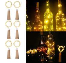 Butelka wina z oświetleniem LED 1M 2M kształt korka sznur lampek na miedzianym przewodzie do wewnątrz na zewnątrz wesele świąteczne lampki świąteczne tanie tanio Brill-ligfut CN (pochodzenie) ROHS 2 Years CHRISTMAS Copper LED Bulbs Brak None Suche baterii 200cm 6-10m WHITE MULTI Ciepły biały