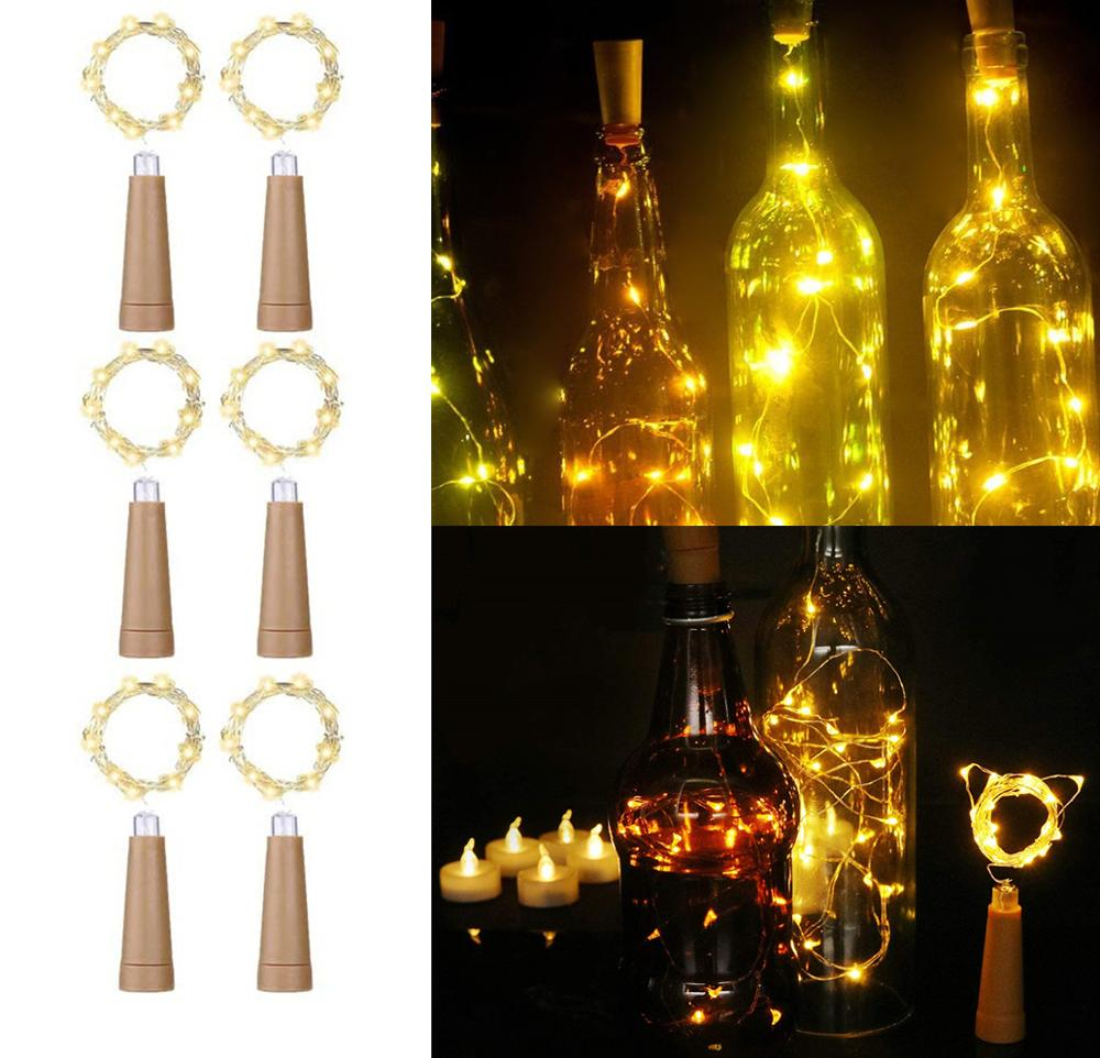 Wine Bottle String Lights 10/20 LEDs AAA Battery Powered Wine Bottle Cork Stopper Lights For Bottle DIY Christmas Wedding Party