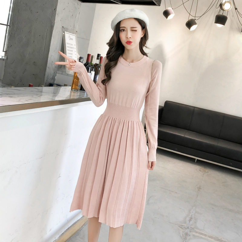 Autumn Winter Knitted Sweater Dress Women Long Sleeve O-Neck Elastic Pleated Dress Party Solid Knee-length High Waist Midi Dress