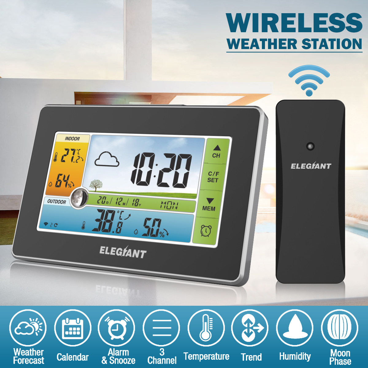 ELEGIANT Digital TOUCHED Wireless Indoor Weather Station + Outdoor Sensor / Calendar / Moon Phase / Snooze Alarm Clock / 3CH