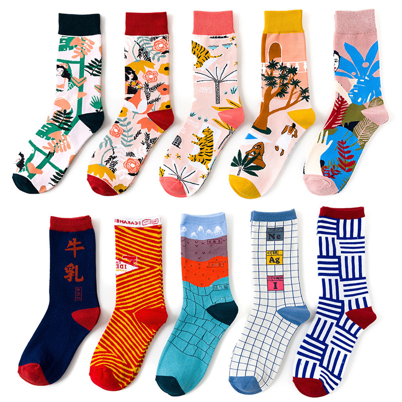 Women Cotton Socks Skateboard Female Socks Illustration Art Print Ins Style Creative High Quality Funny Socks