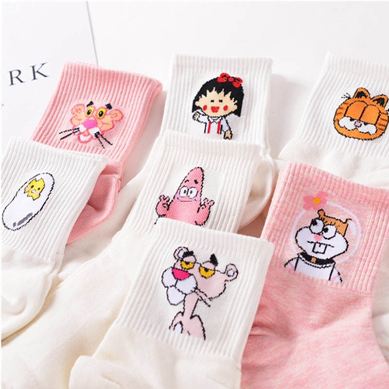 High Quality Cute Elegant Lovely Kawaii Cartoon Sweet Harajuku Cotton Women Socks Animals Character Casual Short Socks Hot image