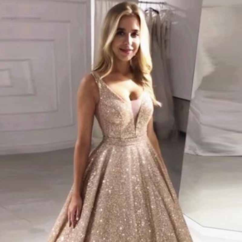 Gorgeous Rose Gold Pleat Sequined Spaghetti Strap A-line   Prom     Dresses   Simple Sleeveless V-neck Floor Length Evening Gown