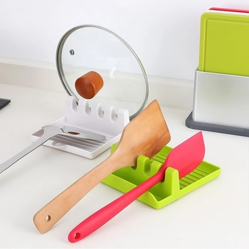 Kitchen Spoon Holders Fork Spatula Rack Shelf Organizer Plastic Spoon Rest Chopsticks Holder Non-slip Spoons Pad Kitchen Utensil image