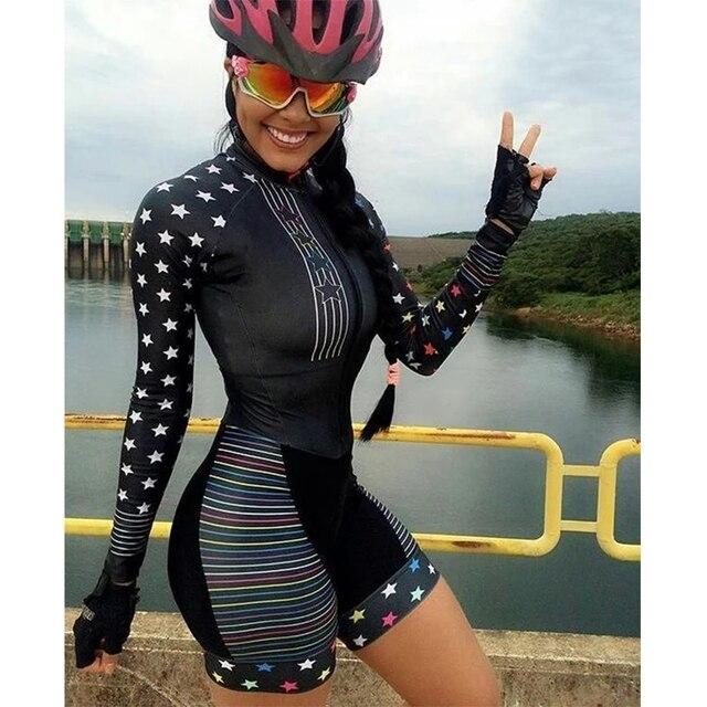 2021 pro equipe triathlon conjunto camisa de ciclismo das mulheres uma peça macacão manga curta macaquinho feminino conjunto almofada gel novo 1