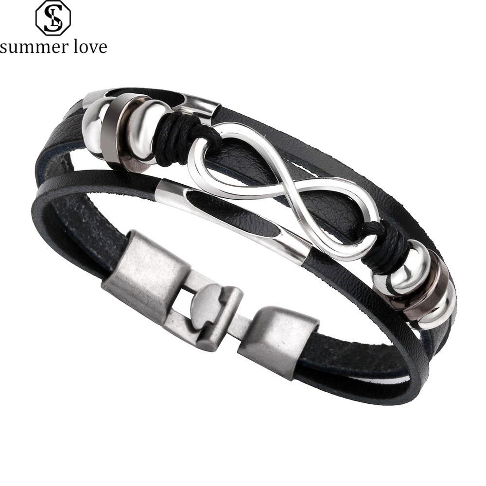 Punk Multi Layer Faux Leather Friendship Bracelets Handmade Infinity Charm Bracelet Men Accessories Fashion Belt Buckle Jewelry