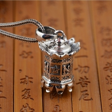 S925 Silver Retro Thai Silver Craft Pendant Buddhism Eight-faced Exquisite Tower Silver Necklace s925 filaments shaolan craft silver inlaid huang yusui pendant in front of blessing silver supply