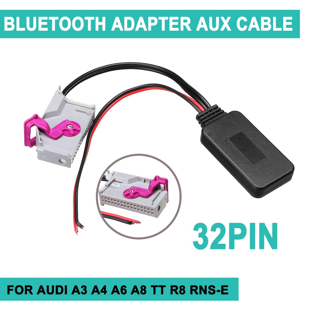 Adattatore Aux Bluetooth Cavo Audio Senza Fili Con Microfono per Audi A3 A4 A6 A8 TT R8 RNS-E 32 PIN