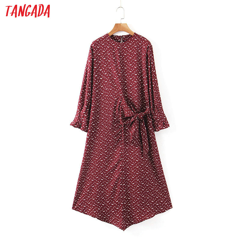 Tangada Fashion Women Dots Print Dress Waist Bow 2020 New Arrival Long Sleeve Ladies Loose Midi Dress Vestidos SL210