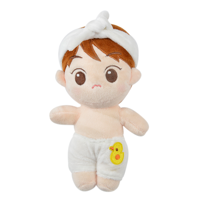 Korea Kawaii Plush Doll Cartoon Toy Stuffed Dolls With Duck Short Trousers White Hair Band PP Cotton Fanmade Cute Toys Fans Gift