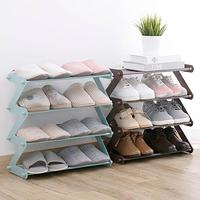 4 Layers Stainless Steel Assembly Shoe Rack Non woven Simple Shoe Rack Bookshelf Home Living Room Shoes Storage Organization|Shoe Racks & Organizers| |  -