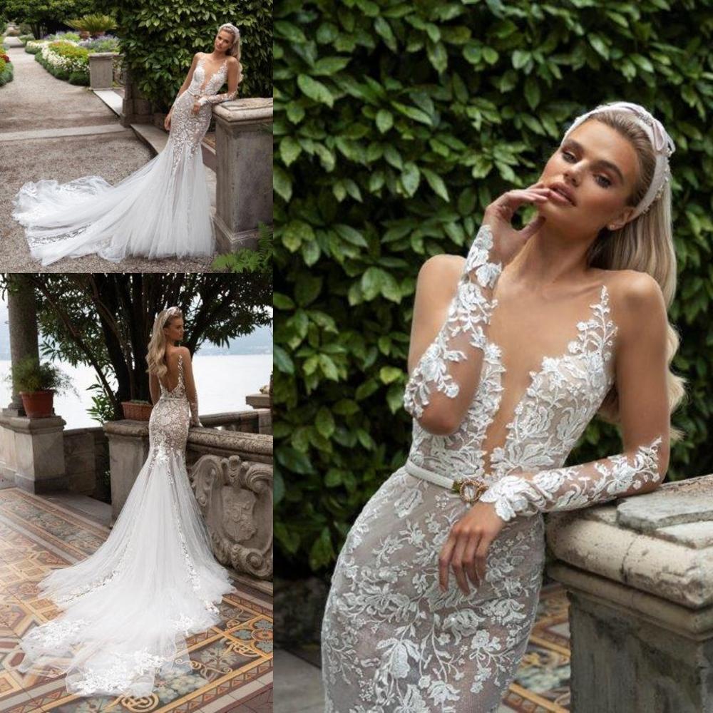 2020 Mermaid Wedding Dresses Illusion Neck Long Sleeve Lace Appliqued Bridal Gowns Sexy Beach Country Plus Size Vestido De Novia