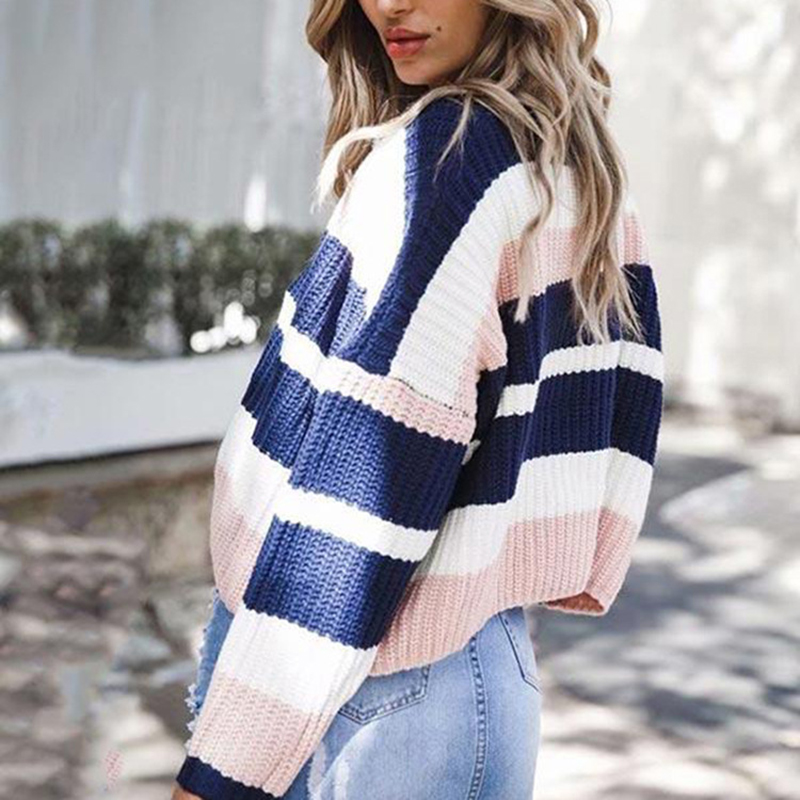 Women's Sweater Loose Large Size Stripe Long Sleev...