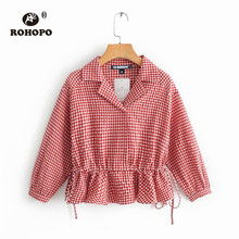 ROHOPO Ruffled Notched Collar Pullover Tiny Plaid Cotton Blouse Autumn #9045