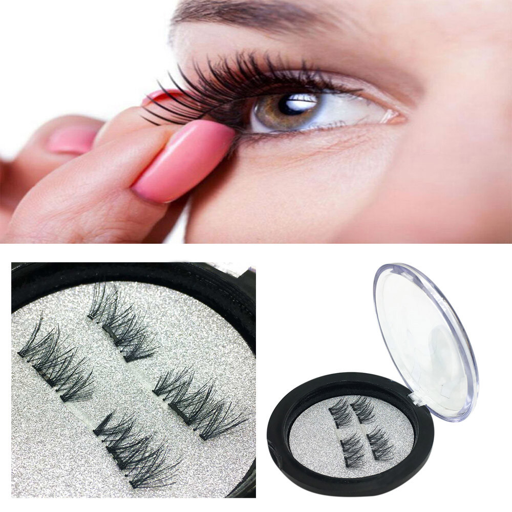 OUTTOP 4pcs 1 Pair Magnetic Eye Lashes 3D Reusable False Magnet Nautral Extension Extend Small Bunches Of Fluffy Eyelashes