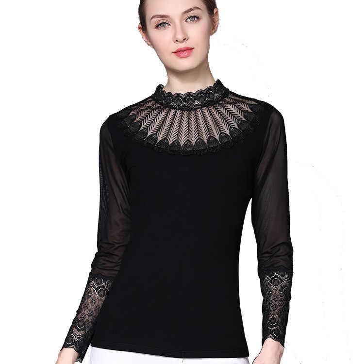 Koronkowe oczka seksowne topy wiosna lato T koszula kobiety ubrania 2020 koreański T-shirt w stylu vintage cienki T-shirt czarne koszule Ropa Mujer ZT5188