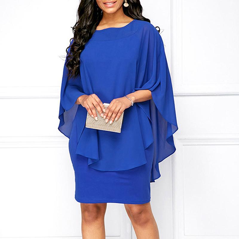 Plus Size  Chiffon Dress Women Casual Fashion Fake Two Pieces Flare Sleeve O-neck Elegant Cape Dress