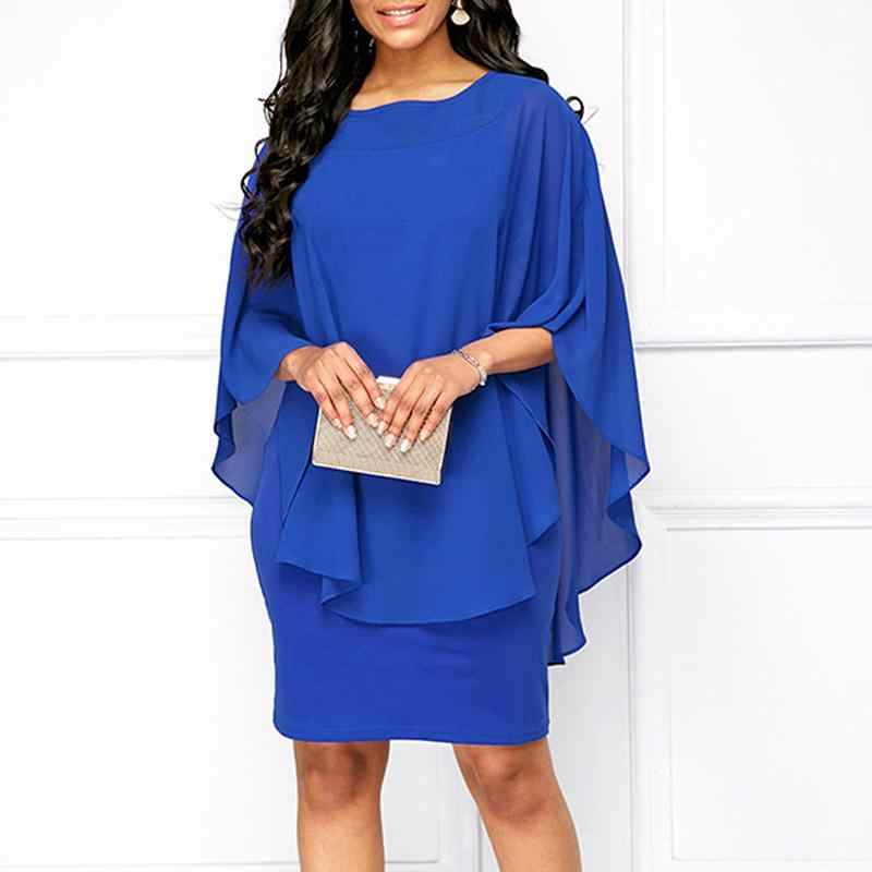 Plus Size  Chiffon Dress Women Casual Fashion Fake Two Pieces Flare Sleeve O-neck Elegant Cape Dress