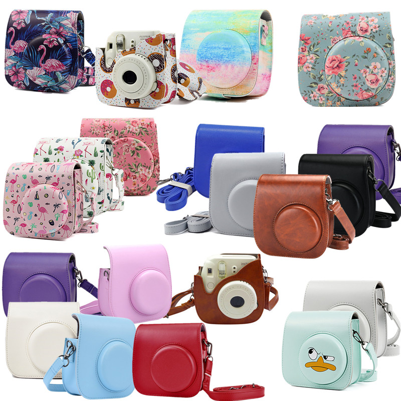 Mini Camera Case Bag Instant Film Cameras PU Leather Cover for Fujifilm Instax with Shoulder Strap  For Instax Mini 9 Mini 8