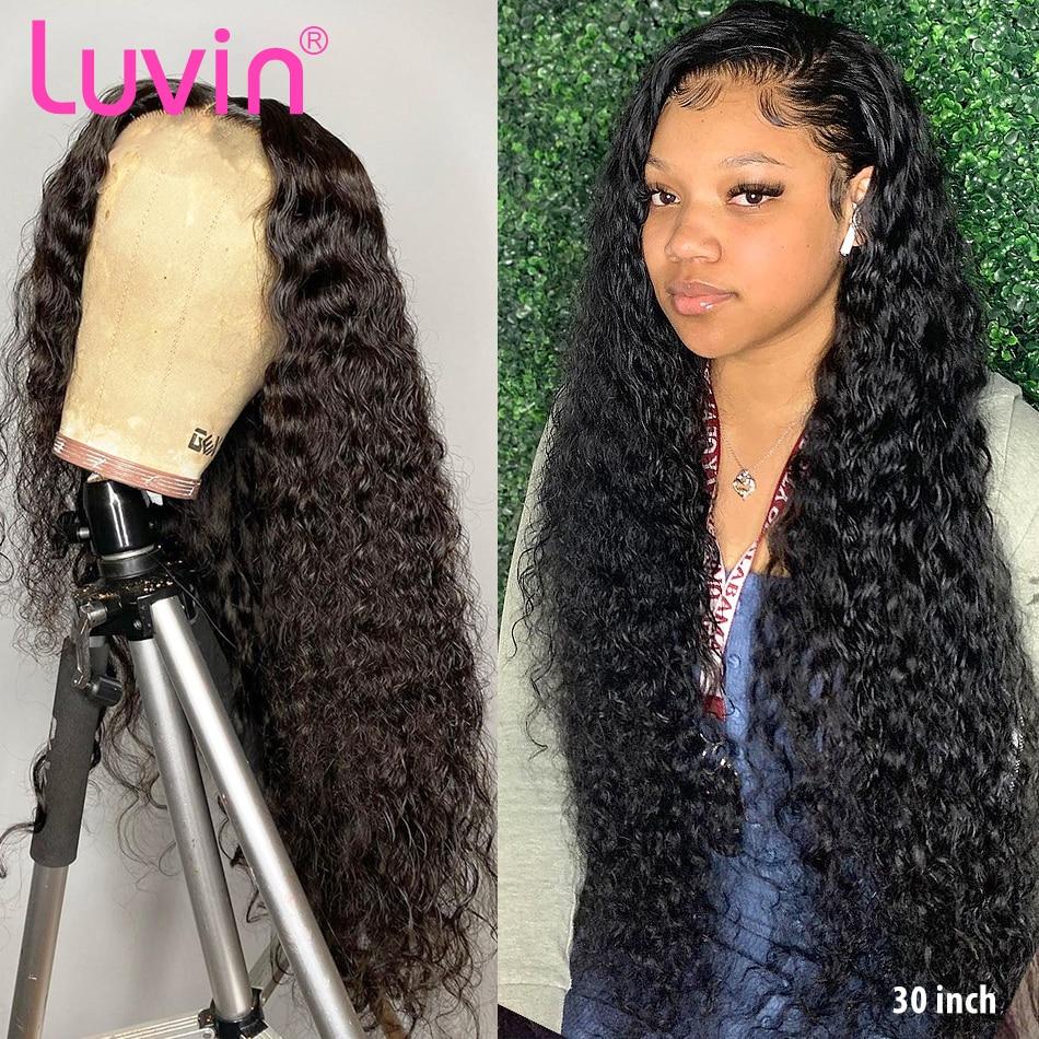 Luvin 180 densidade 30 40 Polegada onda profunda glueless encaracolado frente do laço perucas de cabelo humano água preto peruca frontal brasileira das mulheres arrancadas