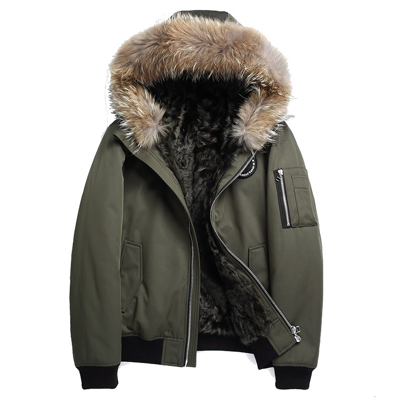 Real Fur Coat Winter Jacket Men Natural Wool Fur Liner Parka Men Raccoon Fur Collar Warm Jackets Plus Size  2303 Y1707