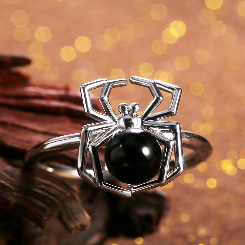 Huitan Animal Ring Funny Black Tummy Spider Halloween Present Finger Ring For Boys Girls Creative Jewelry Ring Dropshipping in Rings from Jewelry Accessories