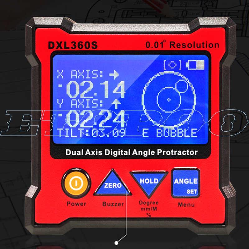 DXL360S /DXL 360 перезаряжаемая двойная ось цифровая угломер двойная ось цифровой дисплей уровнемер с 5 боковыми магнитными основанием