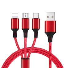 Sanzhiying 3 в 1 нейлоновый Плетеный зарядный кабель для телефона micro usb type c кабель для быстрой зарядки для samsung android зарядное устройство iphone шнур