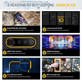 Ulefone Armor X8 Rugged Waterproof Smartphone Android10 5.7-inch Cell Phone 4GB 64GB  ip68 Octa-core  NFC 4G LTE Mobile Phone 3