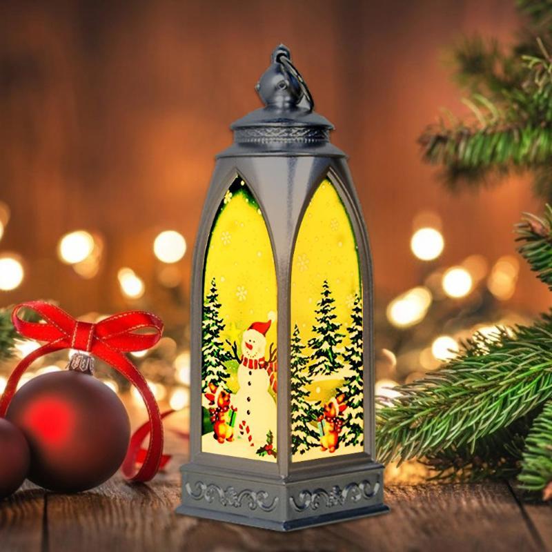 Vintage Home Lantern LED Tealight Candles Santa Elk Xmas Decor Ornament