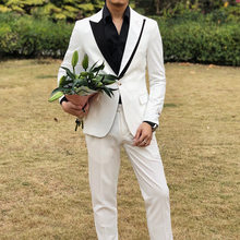 New Fashion stitching design Mens Suits Groomman Tuxedo British Style Suit Men Slim Fit Jacket Pants costume homme mariage(China)