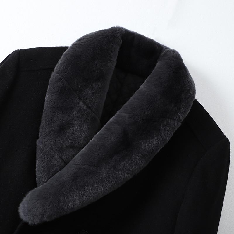 2019 Новые повседневные толстые черные мужские зимние кожаные куртки и пальто - 3