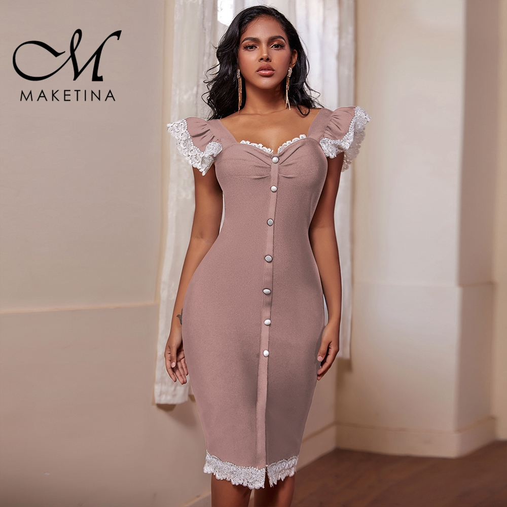 Maketina Vestidos 2020 New Sexy Nude Lace Bandage Dress Strappy Sleeveless Frill Button Bodycon Bandage Dress Party Dresses