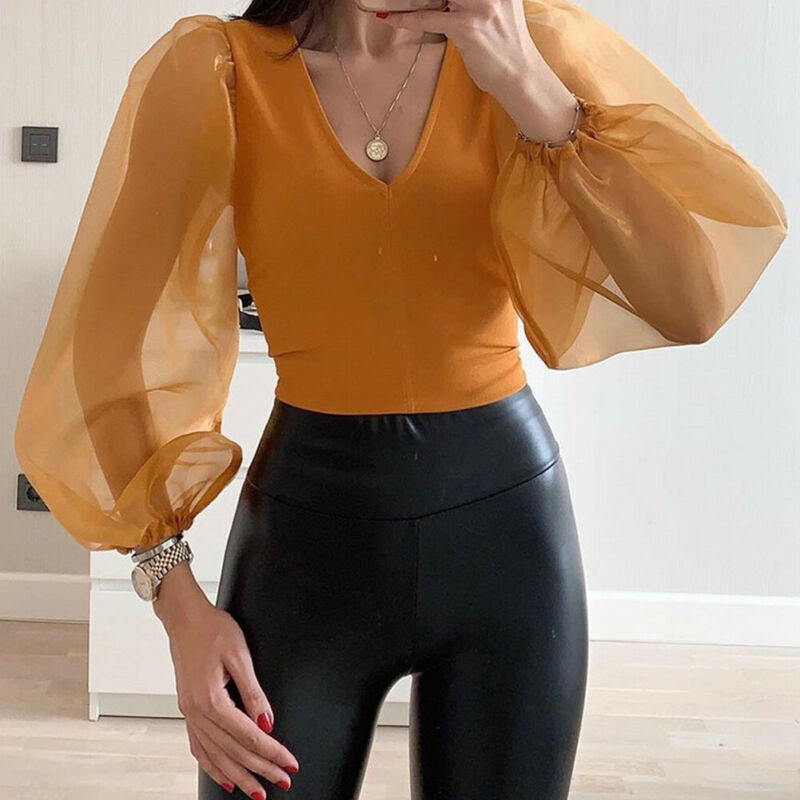 Fashion Solid Sheer Mesh Long Sleeve V-Neck Bodysuits Clubwear Long Sleeve 2020 Fashion Spring Basic Bodysuit