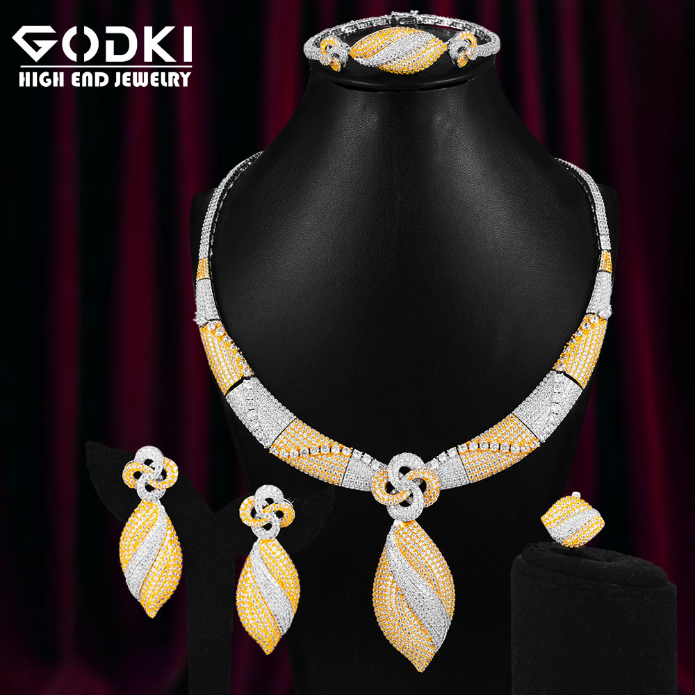 GODKI Lucky Clover 4Pcs Luxury <font><b>Nigeria</b></font> <font><b>Jewelry</b></font> <font><b>Set</b></font> <font><b>For</b></font> <font><b>Women</b></font> Wedding Cubic Zircon Dubai Bridal Necklace Earring Bangle Ring <font><b>Set</b></font> image