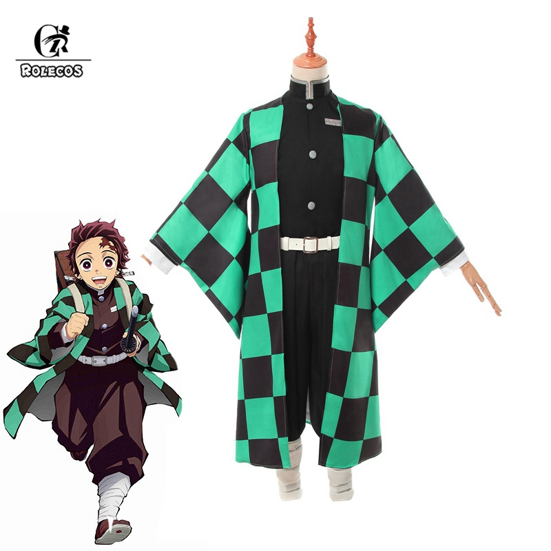 ROLECOS Anime Costume Demon Slayer Cosplay Tanjirou Kamado Cosplay Costume Kimetsu No Yaiba Men Kimono Costume Halloween