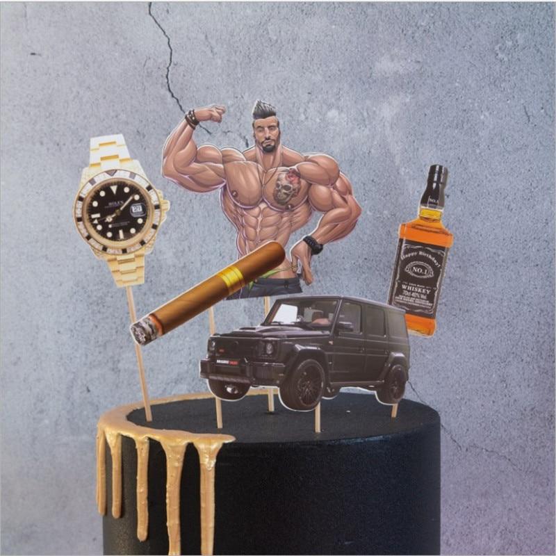 Super Online Shop Cakelove 5Pcs Muscle Man Car Cake Toppers Picks Personalised Birthday Cards Xaembasilily Jamesorg