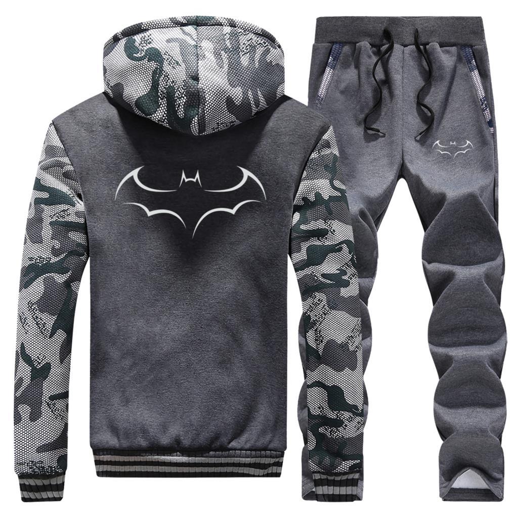 DC Batman Men Warm 2 Piece Sets Superhero Hooded Sweatshirt +Sweatpants Male Tracksuit Thick Outdoor Clothing Streetwear Outwear