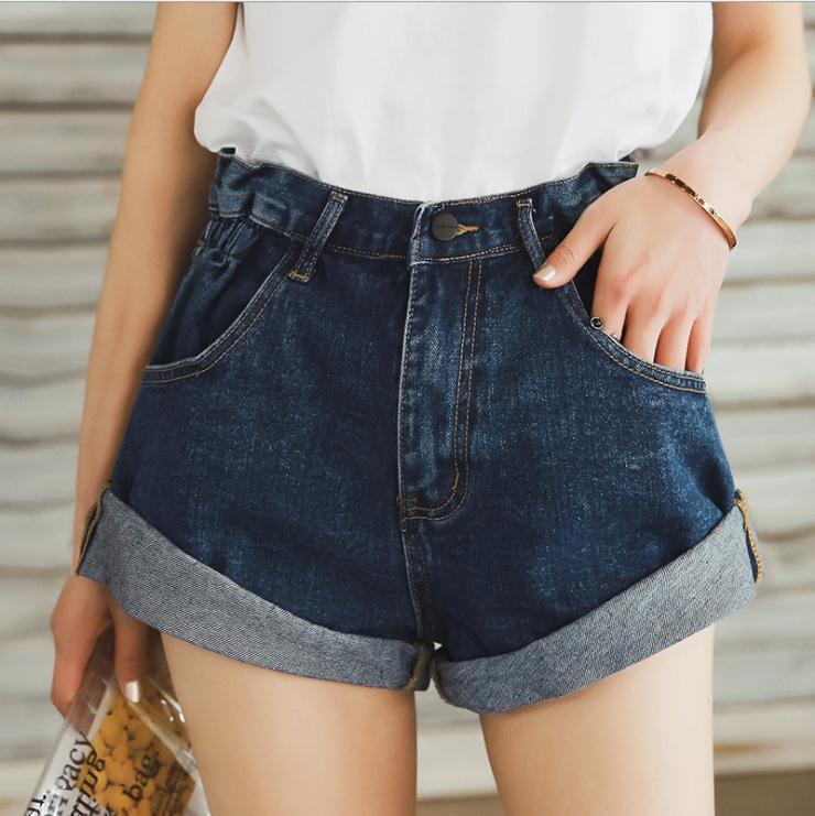 Newest High Waist Denim Short Women Wide Leg Retro Crimping Spring And Summer Female Casual Short Vintage Cowboy Shorts J3095