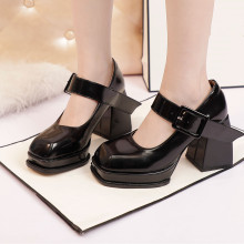 Termainoov-zapatos de tacón grueso con punta cuadrada para mujer, tacones altos a la moda, de cuero, rojo, blanco, negro, con plataforma Mary Jane