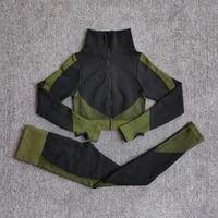 ShirtsPantsGreen - Women Seamless Fitness Yoga Suit Color-blocked Sportwear