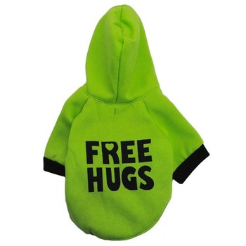 Free Hugs Dog Clothes Hoodie Pet Clothing Small Dogs Coat Letters Costume Cute Autumn Winter Chihuahua Boy Girl Ropa Para Perro image