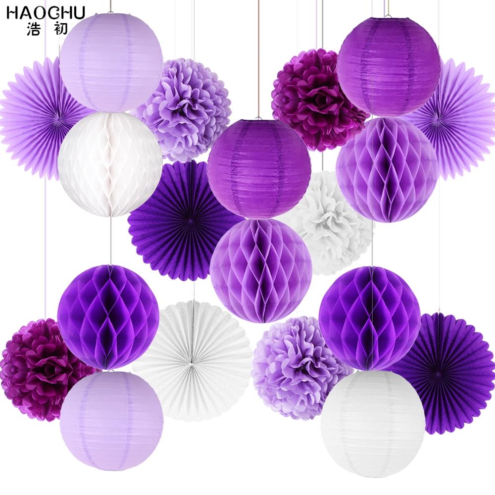 20pcs/set Paper Lantern/Pom Poms/Hanging Fans/Honeycomb Ball Tissue Paper Party DIY Decoration Showers Wedding Birthday Festival(China)