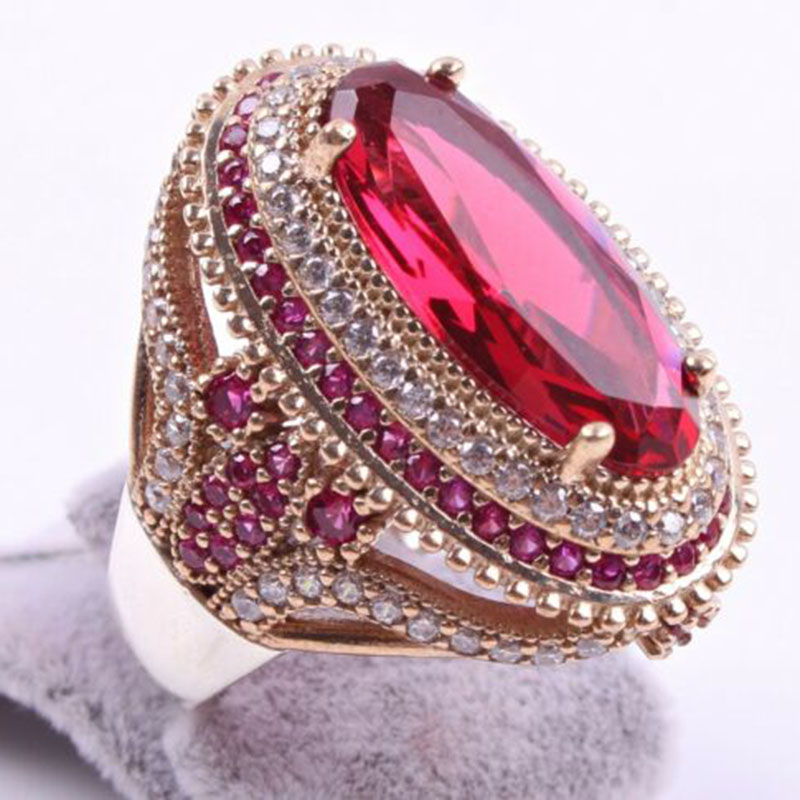 Gorgeous Large Oval Red Stone Ring Luxury Filled CZ Weddings Rings For Women Engagement Fashion Jewelry Gifts Anillos Mujer