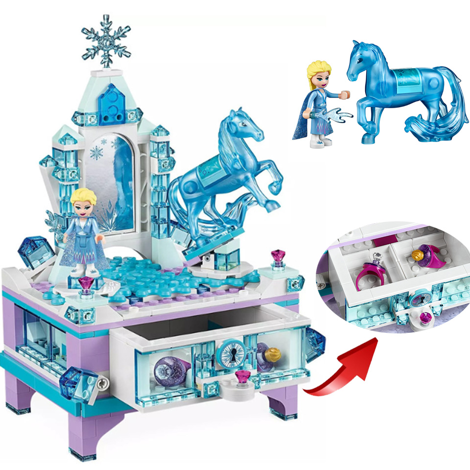 2020 New In stock Elsa Jewellery Box Princess Castle Girl Set Christmas Gifts Fit Lepinblock Frozeninglys 2 Friends MOC Toys image
