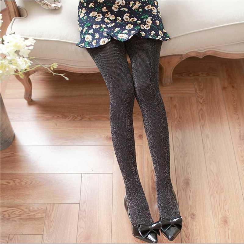 2019 Sexy kobiety błyszczące rajstopy brokat pończochy błyszczące rajstopy krok stóp bezszwowe siatki kabaretki Skinny elastyczne pończochy jedwabiu