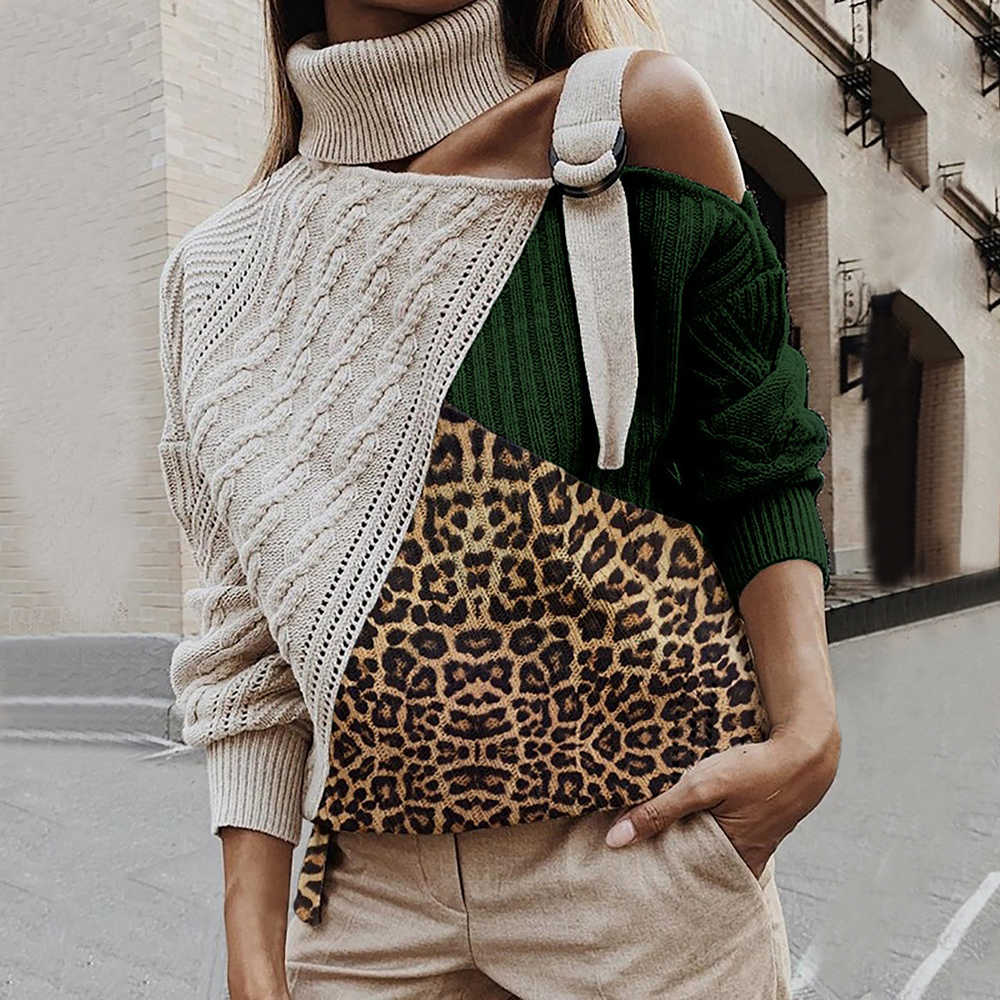 Sfitleopard retalhos camisola de gola alta feminina sexy fora do ombro cor bloco de malha blusas batwing manga longa pullovers
