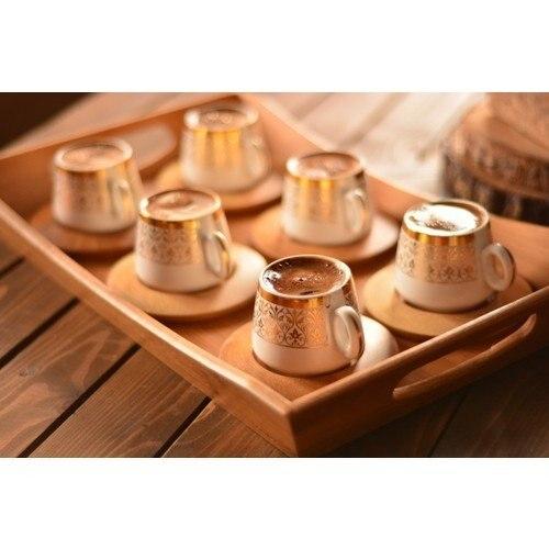 Poef Gouden Patroon 12 Stuk Bamboe Turkse Koffie Cup Set Poef Traditionele Koffie Cup Set Турецкая Кофейная Чашка