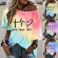 Frauen Sommer T Shirt Casual Farbverlauf Kurzarm T Shirts Street Y2k Grafik Drucken Lose Weibliche Tops Plus Größe 5XL