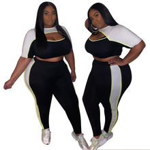 Women Summer Plus Size Pants Set Crop Top T Shirt+Pencil Pan